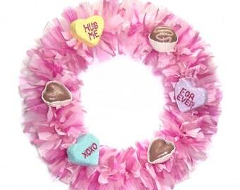 Valentine Wreath Pink Fuchsia Tulle Chocolate Candy Conversation Hearts Door Decor Wreath