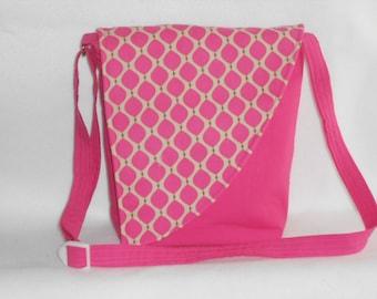 Crossbody Bag - Pink bag with pink and tan print flap