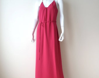 Vintage Giorgio Armani/Magenta Long Crepe Strappy Silk Dress/Fuchsia Crepe Long Dress/Criss Cross Back