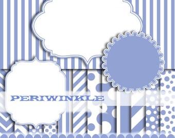 Periwinkle digital frame blue digital paper chevron frame border photo clip invitation : p0176 3s3150 IP