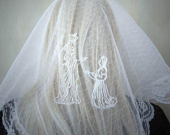 Our Lady of Loudes St Bernadette Embroidered Traditional Triangle Mantilla Chapel Veil | Veil for Mass | Communion Veil | The Veiled Woman