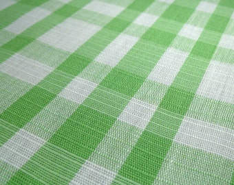 Checkered - Vintage Fabric Remnant - Light Green and White