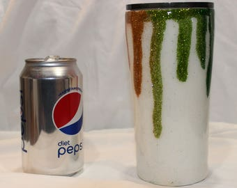 20 ounce stainless steel tumbler with glitter drips