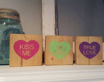 Conversation hearts~Wood Blocks~Valentine Wood Blocks~Heart Blocks~Valentine Decor~Valentine Blocks~gifts~Valentine's Day~Heart Wood Sign