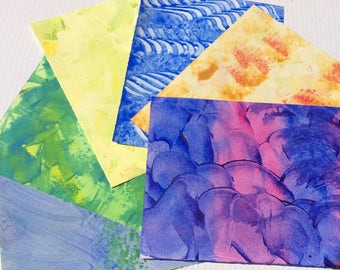 Hand decorated paste paper for all creative uses. Blue and Purple. Ref# 1708