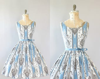 Vintage 50s Dress/ 1950s Cotton Dress/ Blue Paisley Print Cotton Dress w/ Full Skirt M