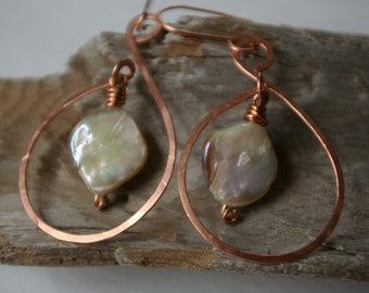 Mother of Pearl and Copper Earrings