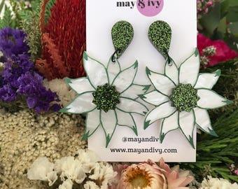 Flourishing Flannel Flower Dangle Earrings  Australian Native Flora