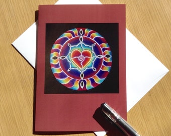 Rainbow  Heart Mandala Greeting Card