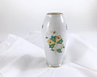 Small Herend China Vase Porcelain Bud Vase Cabinet Vase Green Floral