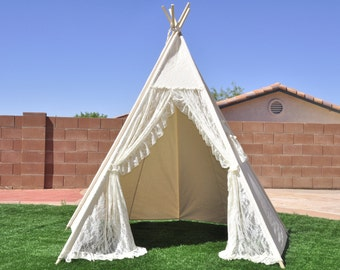 8' XL Iovry Lace Canvas Teepee Canvas Teepee, Play Tent, Play House, Tipi, Room Decor