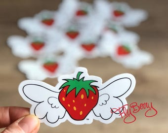 Strawberry Vinyl Sticker FlyBerry - Fruit Die Cut Sticker - Strawberry Label - Kids Treat Bag - Food Stickers for Kids - Kids Party Favor