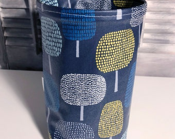 Wastebasket car trash can, use anywhere, crafting, thread catcher, laminated cotton fabric, waterproof, wipe clean, WASTIE, Glade print