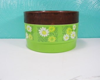 Vintage Alladinware Green Flowered Storage Container, Plastic Lidded Round Canister