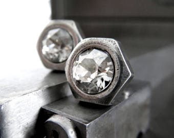 Hex Nut Silver Stud Earrings - Swarovski Crystal Post Earrings, Hardware Jewelry, Mens Jewelry, Fathers Day Gift, Gift for Dad, Husband, Guy