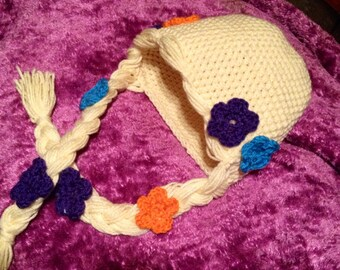 Rapunzel beanie for infant, toddler, girls of all ages