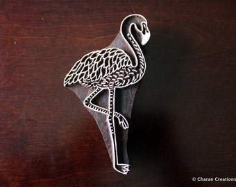 Textile Stamp, Pottery Stamp, Indian Wood Stamp, Tjaps, Blockprint Stamp- Flamingo