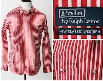 Men's Polo Shirt Ralph Lauren Western Pearl Snap Stripe Cowboy - Large L Long Sleeve