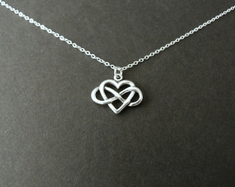 Infinity heart necklace, Valentines day gift for her, best seller jewelry, always charm, sterling silver, girlfriend gift