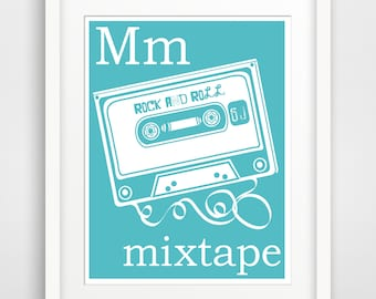 Children's Wall Art / Nursery Decor M is for Mixtape print by Finny and Zook