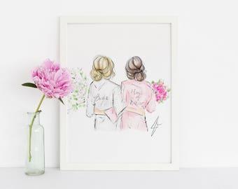 Bridal Gals (Bridesmaid Robes - Fashion Illustration - Will You Be My Bridesmaid - Bridal Party Card - Bridesmaid Card - Bridesmaid Gift)
