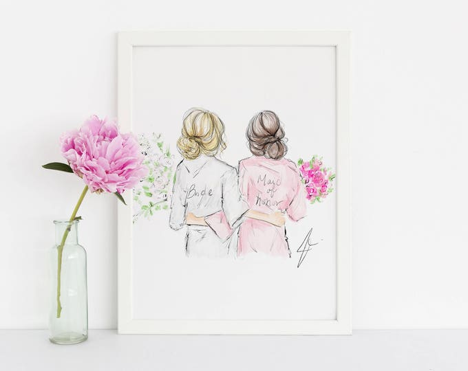 Featured listing image: Bridal Gals (Bridesmaid Robes - Fashion Illustration - Will You Be My Bridesmaid - Bridal Party Card - Bridesmaid Card - Bridesmaid Gift)