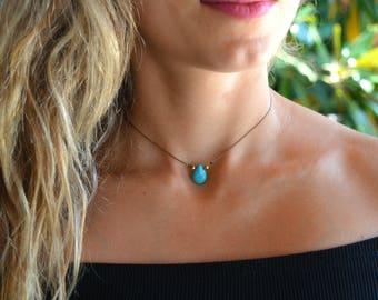 turquoise choker necklace beaded Necklace, gemstone choker simple, Turquoise  gold Choker Minimal Necklace, Layered Choker, something blue