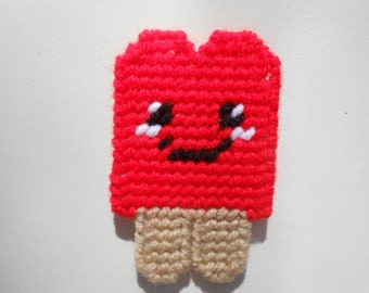 Plastic Canvas Red Happy Popsical Magnet