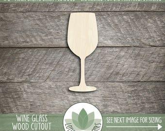 Wood Wine Glass Shape, Unfinished Wood Wine Glass Laser Cut Shape, DIY Craft Supply, Many Size Options, Blank Wood Shapes