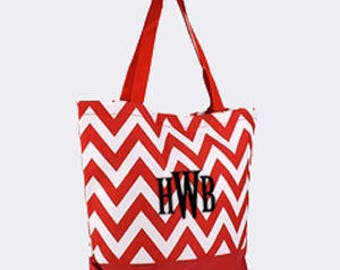 Red Chevron Canvas Tote Bag with Embroidery Personalization
