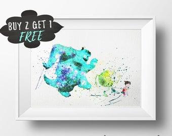 Monsters Inc. Art Print Poster, Monster Inc Wall Art Nursery Printable Watercolor, Monsters University Download, Monster Inc Birthday Party