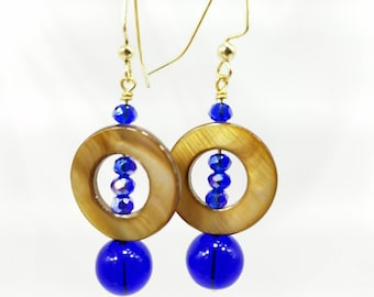 Shell and Cobalt glass and crystal drop earrings