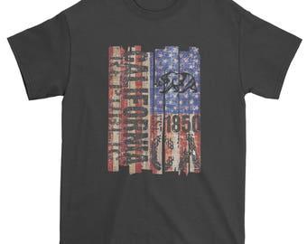 USA Flag California Bear Mens T-shirt