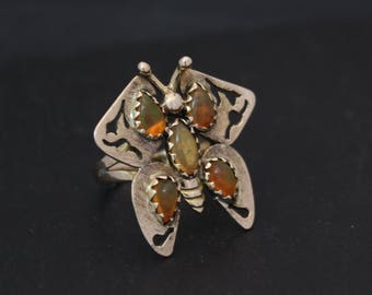 14k Yellow Gold Mexican Opal Butterfly Ring, Vintage 1960s Ring, Fashion Ring, Statement Ring, Ready to Ship Size 5