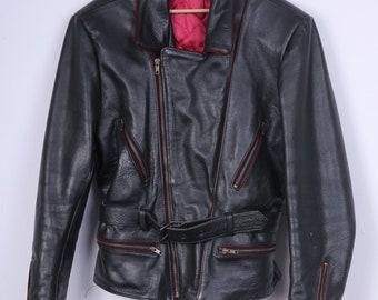 Vintage Mens S Leather Jacket Padded Full Zipper Black Biker