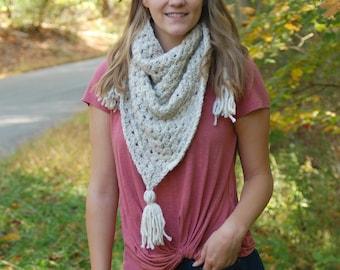 Crochet Triangle Tassel Scarf