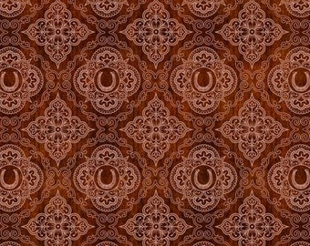 Quilting Treasures Cream Red Brick Unbridled Horses Western Horseshoe Medallion Country Horse Fabric BTY 24696-T