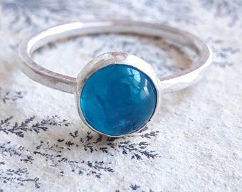 Neon Blue Apatite and Sterling Silver Stacking Ring - Apatite Ring - Blue Stone Ring - Stackable Ring - Something Blue for Bride