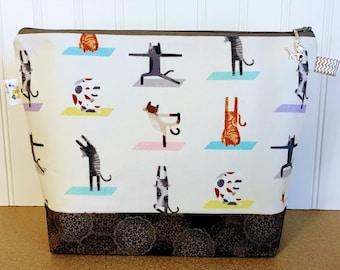 Yoga Cats Knitting Project Bag - Medium / Shawl Size