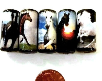 Horse Beads -  Handmade Paper Tube Beads - - Set/5 -  PB15