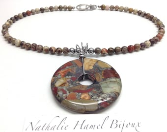 Necklace 18 inch stainless steel and silver leaf agate, handmade.