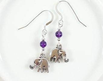 Elephant Earrings Amethyst, Black Agate, Carnelian, Turquoise Gift For Her - Sterling Silver hooks - Spirit of Colour Jewellery
