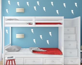 Lightning Bolts Wall Decals - Nursery Wall Decal - Vinyl Stickers - Kids Room - Boys Decals - Lightning Bolts Wall Stickers - Peel & Stick