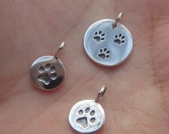 Sterling Silver Paw Print Charm(one charm)