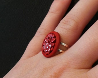 Vintage Red Carved Hibiscus Cameo Adjustable Silver Ring