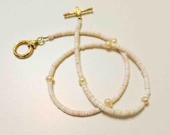 Pink Fresh Water Pearls and Peach Heishi Shell Necklace