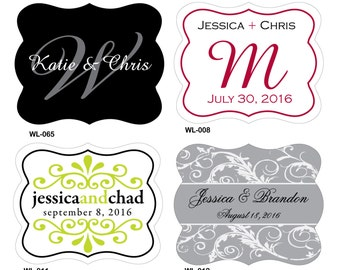 56 - 2.5 x 2 inch Die Cut Glossy Waterproof Mini Wine Bottle Wedding Labels - hundreds designs to choose - change designs any color