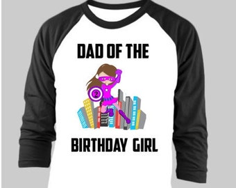 Dad of the Birthday Girl Super Hero Birthday Shirt Dad Raglan Shirt
