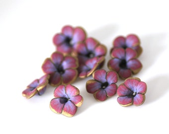 Shimmer Flowers, Pink and Blue Polymer Clay Beads 10 pieces