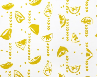 Lemon screen printed fabric sold by the metre
